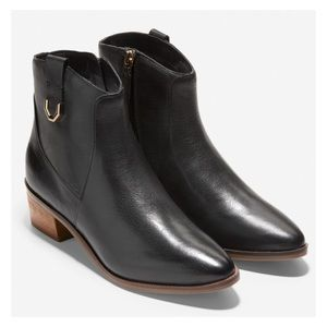 COLE HAAN Black Leather Maci Bootie Ankle Boot NIB
